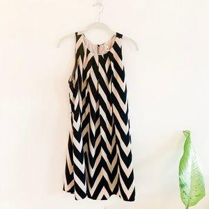 ModCloth Cream & Black Chevron Dress